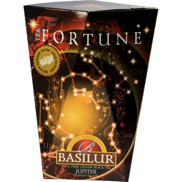 Чай Basilur Фортуна Юпитер Jupiter листовой черный 85 гр в картонной упаковке