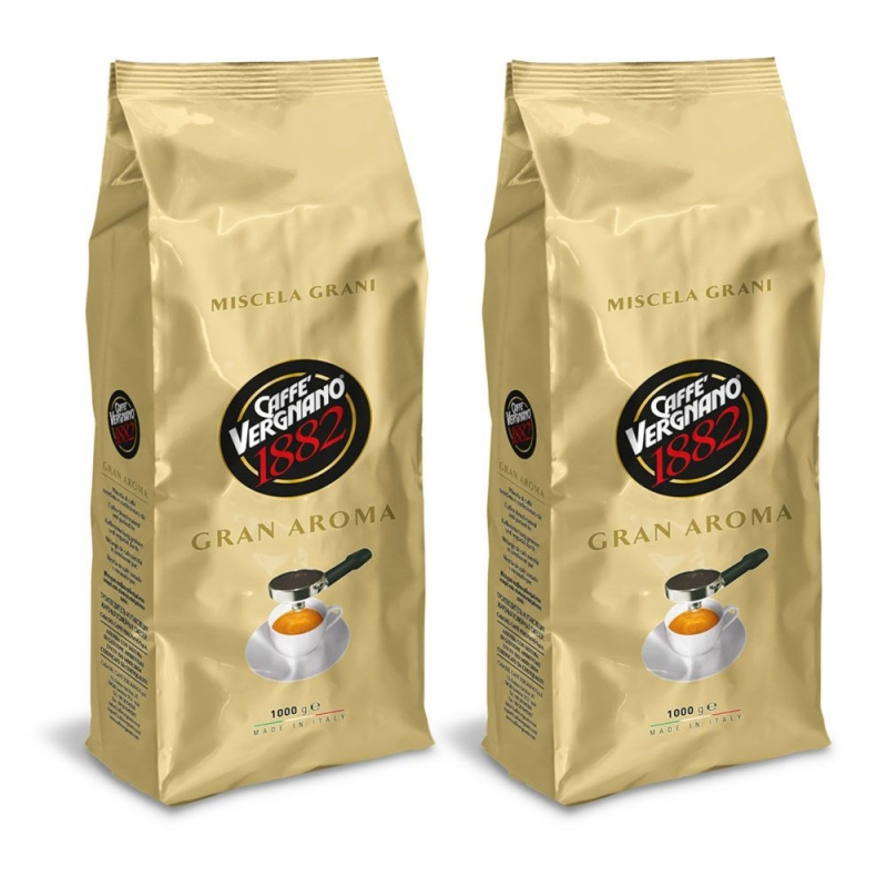 Кофе в зернах Vergnano Gran Aroma 1+1 кг (—50% на 2-ю упаковку)