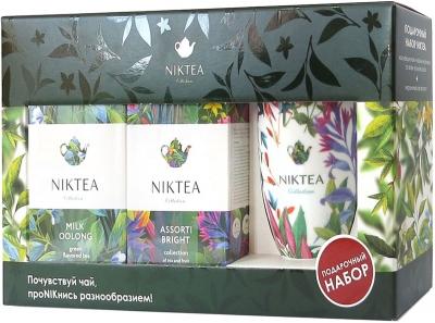 Подарочный набор Niktea Ассорти Брайт + Молочный Улун с белой кружкой