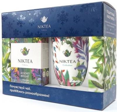 Новогодний подарочный набор Niktea Ассорти Брайт синий с белой кружкой
