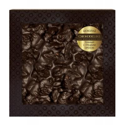 Неровный шоколад Chokodelika темный с грецким орехом (блистер)