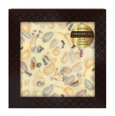 Неровный шоколад Chokodelika белый с орехами и цукатами (блистер)