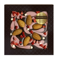 Узорный шоколад Chokodelika Клубника и миндаль (блистер)