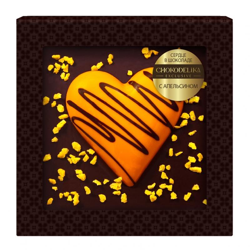 Шоколад cердце в шоколаде с апельсином 90 г