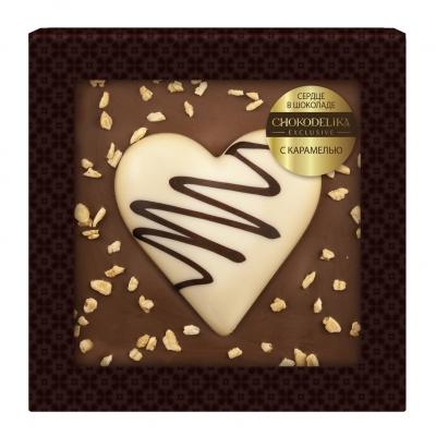 Шоколад cердце в шоколаде с карамелью 90 г