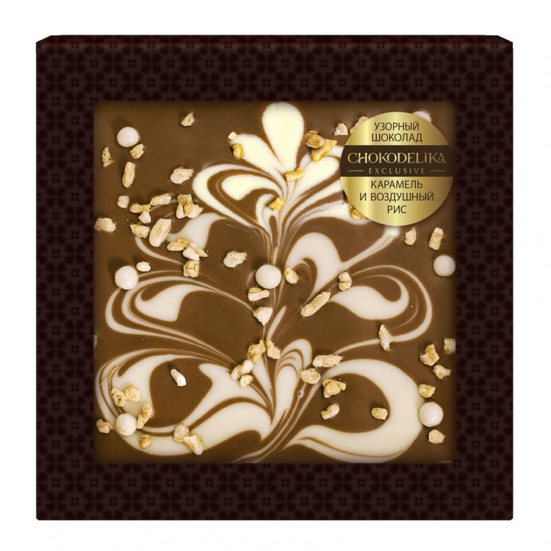Шоколад узорный карамель и воздушный рис 80 г