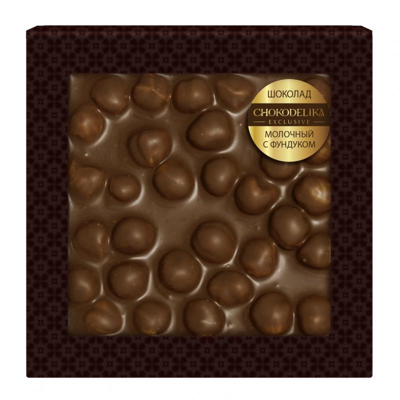 Шоколад неровный молочный с фундуком 80 г