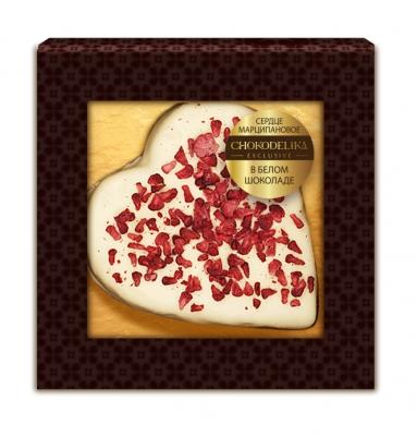 Конфета Сердце Марципановое в белом шоколаде 30 г