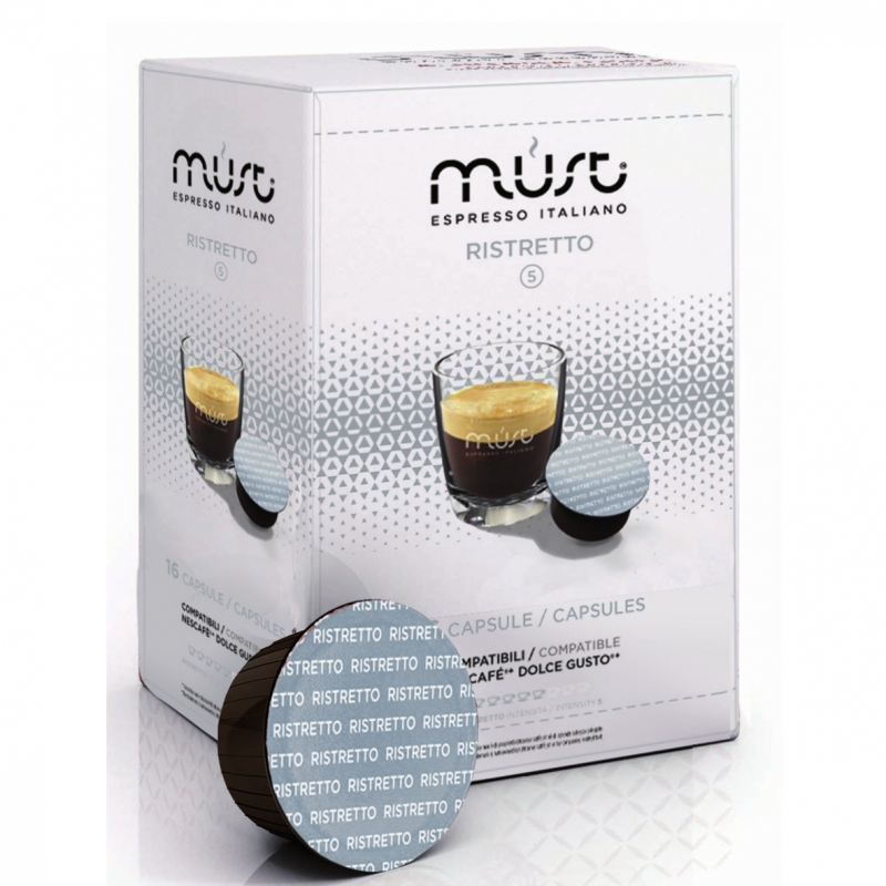 Кофе молотый в капсулах системы Must Dolce Gusto Ristretto (Маст Дольче Густо Ристретто) 16 шт