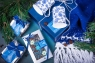 Подарочный набор в упаковке на магнитах из дизайнерской бумаги с эффектом шелка в синих тонах