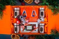 Подарочный набор в упаковке Элегант из дизайнерской бумаги оранжевого цвета