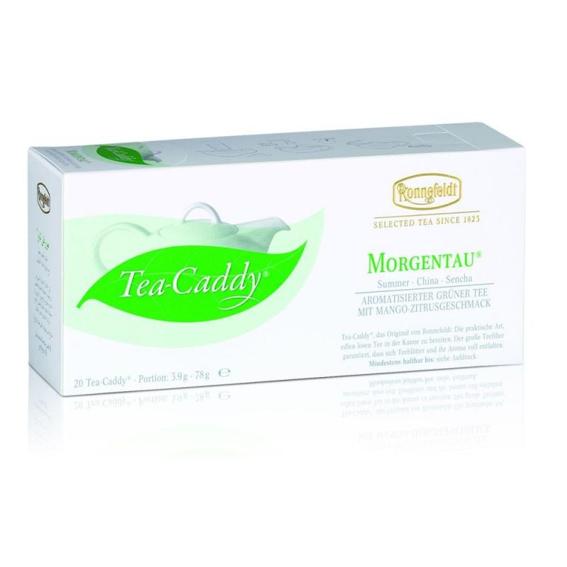 Ronnefeldt Tea Caddy Morgentau Моргентау Ароматизированный Зеленый чай со вкусом манго и цитрусовых в пакетиках 20 штук  в упаковке 78 гр