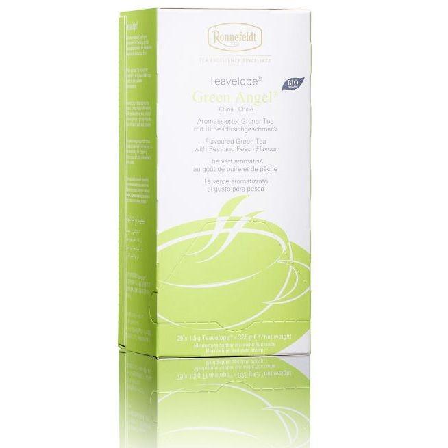 Ronnefeldt Teavelope Green Angel BIO Ароматизированный Зеленый чай в пакетиках 25 штук  со вкусом груши и персика в упаковке 37,5 гр