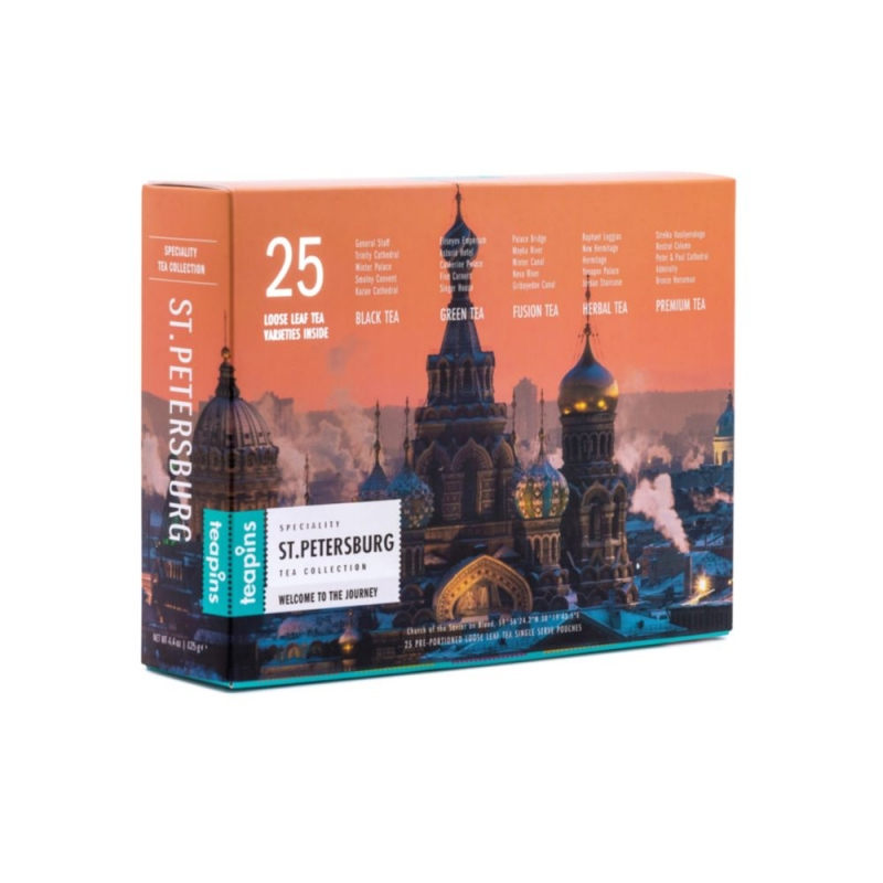 Подарочная коллекция листового чая Saint Petersburg Teapins 25 видов чая 125 г