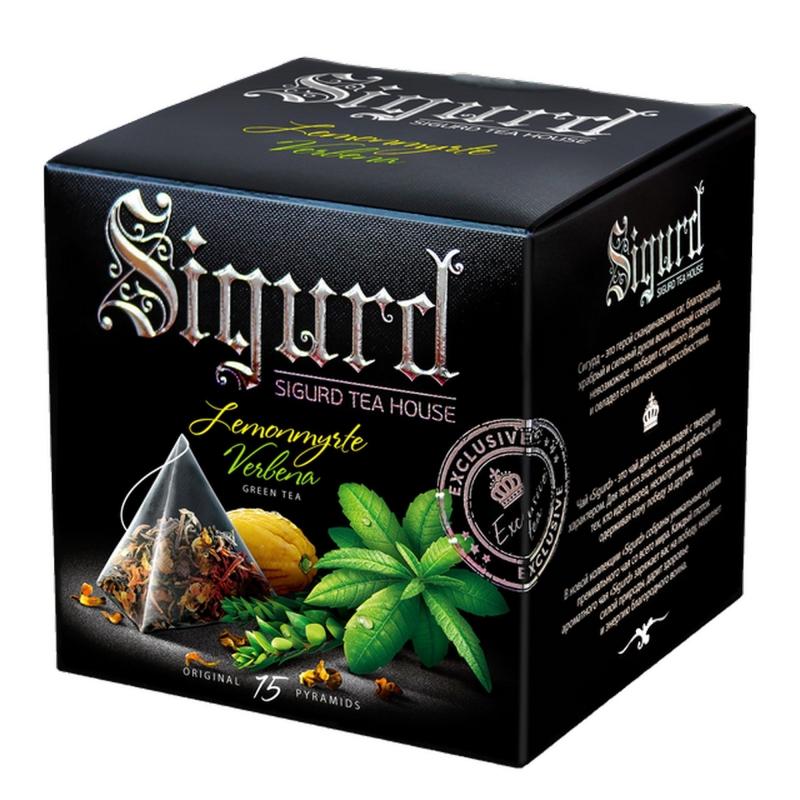 Чай зеленый Sigurd Lemonmyrte & Verbena лимонный мирт-вербена в пирамидках 30 г