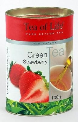 Чай зеленый листовой Tea of Life Strawberry (Тиа оф Лайф Клубникой) 100 гр