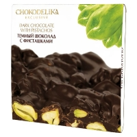Chokodelika неровный шоколад темный с фисташками 160 гр