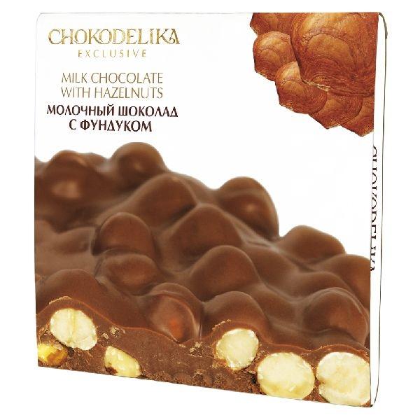 Chokodelika неровный шоколад молочный с фундуком 160 гр