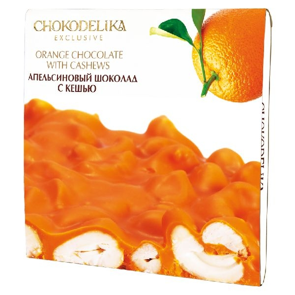 Chokodelika неровный шоколад белый апельсиновый с кешью 160 гр