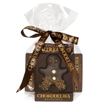 Chokodelika марципановые фигуры ручной работы «Человечек марципановый в темном шоколаде» 31 гр