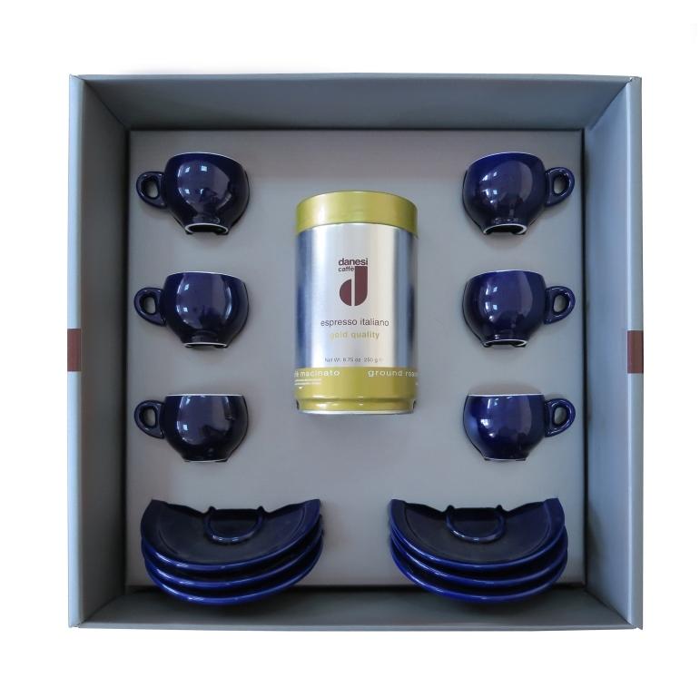 Подарочный набор для эспрессо Danesi голубой, на 6 персон