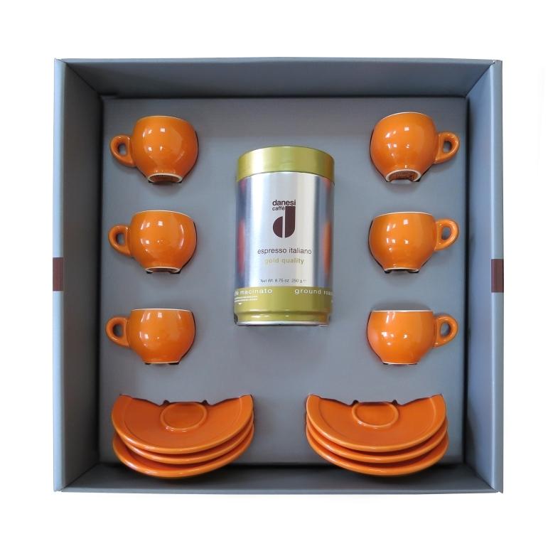 Подарочный набор для эспрессо Danesi оранжевый, на 6 персон