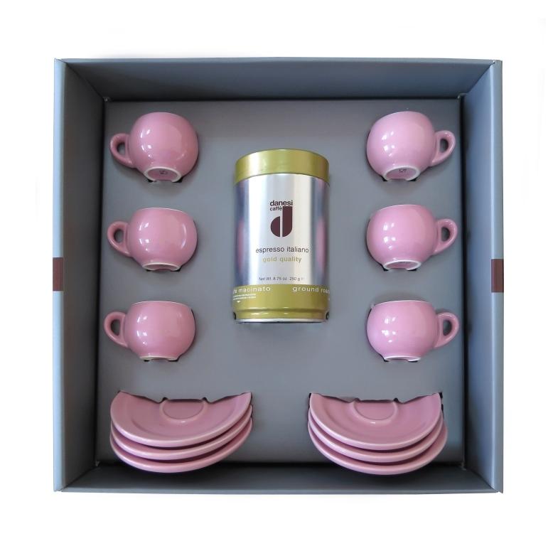 Подарочный набор для эспрессо Danesi розовый, на 6 персон
