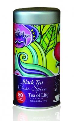 Tea of Life Blaсk Tea Chai Spice черный чай со специями в пакетиках в жестяной банке 50 шт