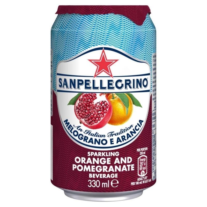 Лимонад San Pellegrino Melograno e Arancia со вкусом граната и апельсина 0,33 л