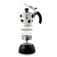 Гейзерная кофеварка Bialetti Mukka Express Maculata Spotted белая с пятнами на 2 чашки со встроенным капучинатором