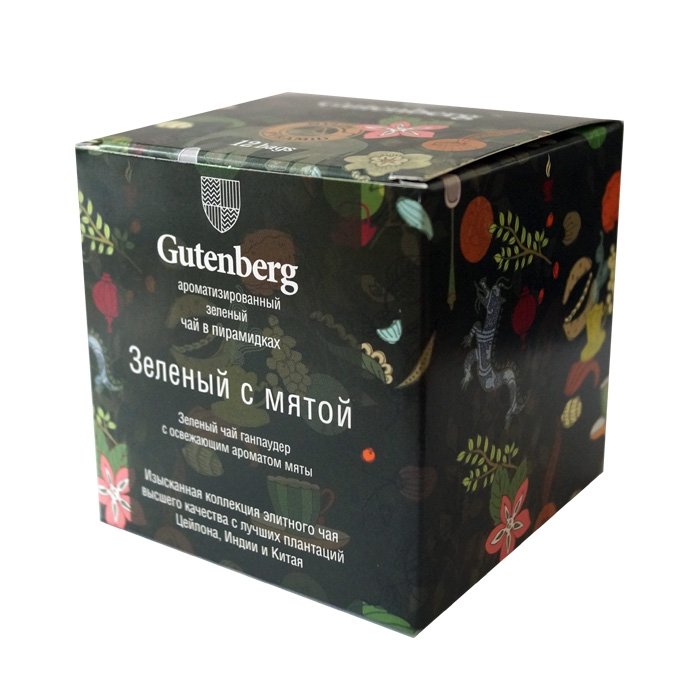 Чай Gutenberg зеленый Зелёный с мятой в пирамидках