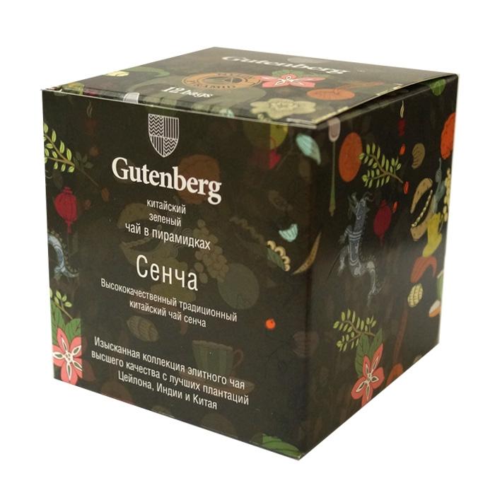Чай Gutenberg зеленый Сенча в пирамидках