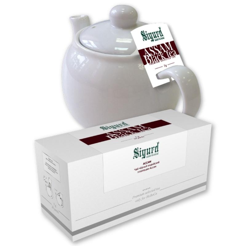 Чай черный для чайника в пакетиках Sigurd Black Assam ассам 75 г