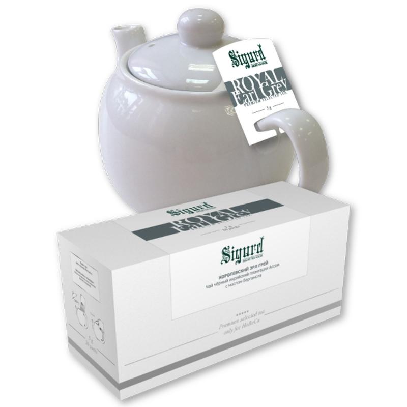 Чай черный для чайника в пакетиках Sigurd Royal Earl Grey Королевский Эрл Грей 75 г