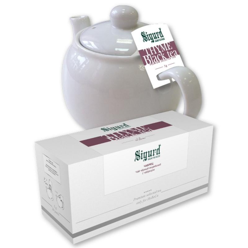 Чай черный для чайника в пакетиках Sigurd Thyme Black c чабрецом 75 г