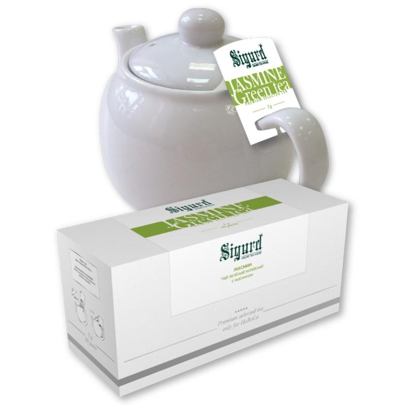 Чай зеленый для чайника в пакетиках Sigurd Jasmine Tea китайский с жасмином 75 г